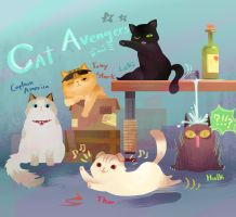 Cat Avengers by Mushstone