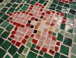 Orchid glass tile mosaic on a cement paver 2 by Amazinadrielle