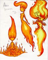 Flame Princess Triptych by Rococokara