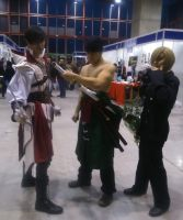 Sanji and Zoro cosplays con Cuervo by Moskita