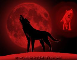 Howling at a blood red moon by DragonWolfACe