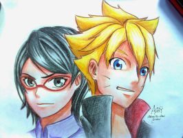 Boruto Uzumaki and Sarada Uchiha by Ashreille-chan