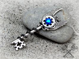 Sapphire Crystal Inquisitor Key Necklace by ArtByStarlaMoore