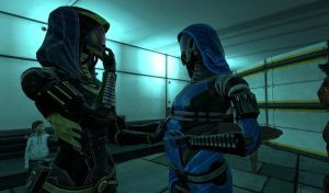 Rena'Ces and Tali'Zorah by Joester264