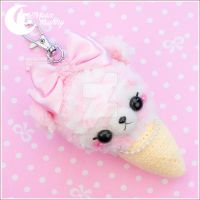 Fluffy crochet ice-cream bearBag charm by CuteMoonbunny