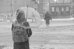 Snow Fall and Pedestrians In the Street 2 by Miss-Tbones