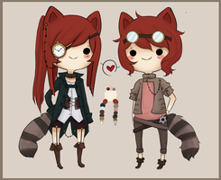 Custom raccoon twins for Mostlynice by Pajuxi