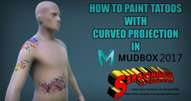 Painting Tattos with Curved Projection In Mudbox by SergioMengual2012
