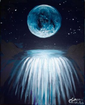 Waterfall in the moonlight dream painting by CORinAZONe