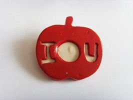 Sherlock IOU Apple Flat 2D Brooch by tyney123