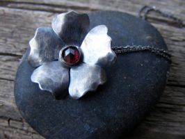 Dark Wild Rose with Garnet by MoonLitCreations