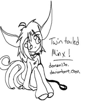 Twin tailed Minx: lineart by demon13o