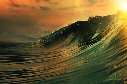 Ocean breaking surfing wave at sunset time by Vitaly-Sokol