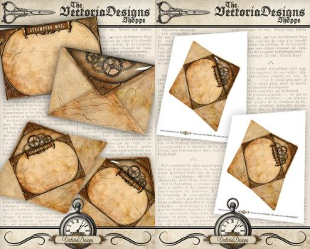 Printable Steampunk Envelope by VectoriaDesigns