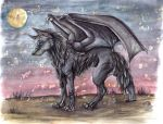 wings wolf drawing moon