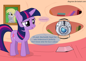 Twilight reads Machiavelli with Wheatley by DiegoTan