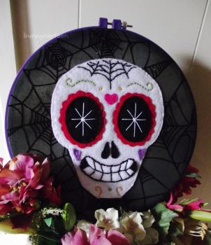 Sugar skull embroidery art by usamimi