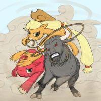 Applejack and Big Mac vs the Cretan Bull Final by Bakuel
