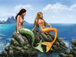 Pensive Mermaids on rocks by dashinvaine