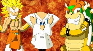 The Professor, Broly and Bowser the 3 villains by FelixToonimeFanX360