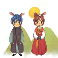 hanbok kaito and meiko by wafers001