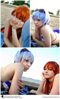 Evangelion Cosplay (Beach Themed) - Rei and Asuka by Redustrial-Ruin