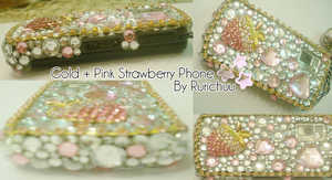 Pink + Gold Strawberry Deco by Rurichuu