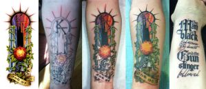Dark Tower Tattoo Progression by shokxone-studios