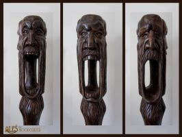 Wabbajack - wood carving, detail of the faces by alesthewoodcarver