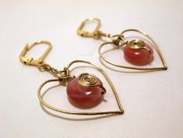 Pink and Gold Heart Earrings by Kindori
