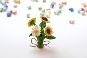 Sunflowers and Daisies by TheBittiestBaubles