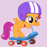 Pixel Scootaloo w/scooter by queot