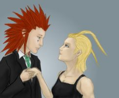 Axel and Larxene by JenniferElluin