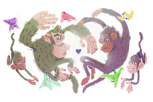 Monkey Love by SteedAngus
