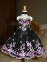 mauve and black lace dress by CandyKittensEmporium
