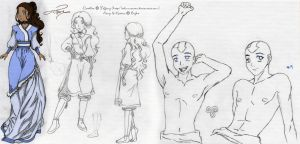 Doodles - Katara with a little Aang by selinmarsou