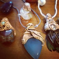Gemstone Necklace with Clay Setting by tegan159