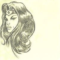 Wonder Woman Bust Post-It Note Sketch by Maxered