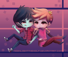 Chibi Marshall Lee and Prince Gumball by MoonlightTheWolf