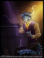 Blue Bengal Piano Commission by lady-cybercat