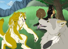 Goldie, Timber, and Fenrir by Timber-Wolf-Spirit