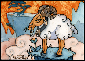 mountain goat cartoon ACEO by candcfantasyart