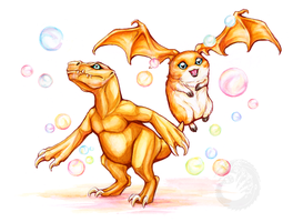 Agumon and Patamon by Simkaye