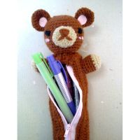 Teddy Bear Pencil Pal Pouch by vrlovecats