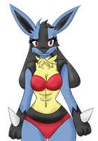 Red bikini lucario by Mitch-Kun