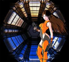 Aiko at the airlock by Tangent101