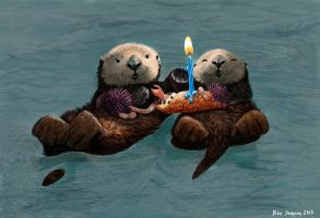 Sea Otter Birthday Card by Psithyrus