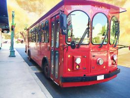 Trolley Bus Watercolor Bckg by mysticmorning