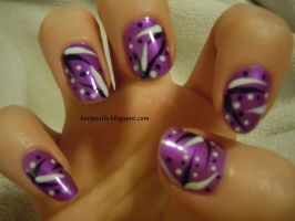 Purple dots and stripes by BevyArt
