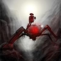 spider-mech in canyon by greensandsguy